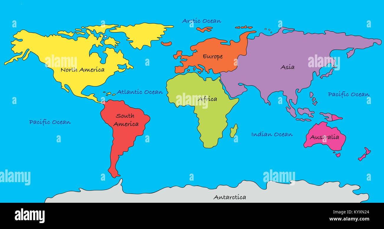 Karte Kontinente Welt.Welt Karte Mit Hervorgehobenen Kontinenten In Verschiedenen