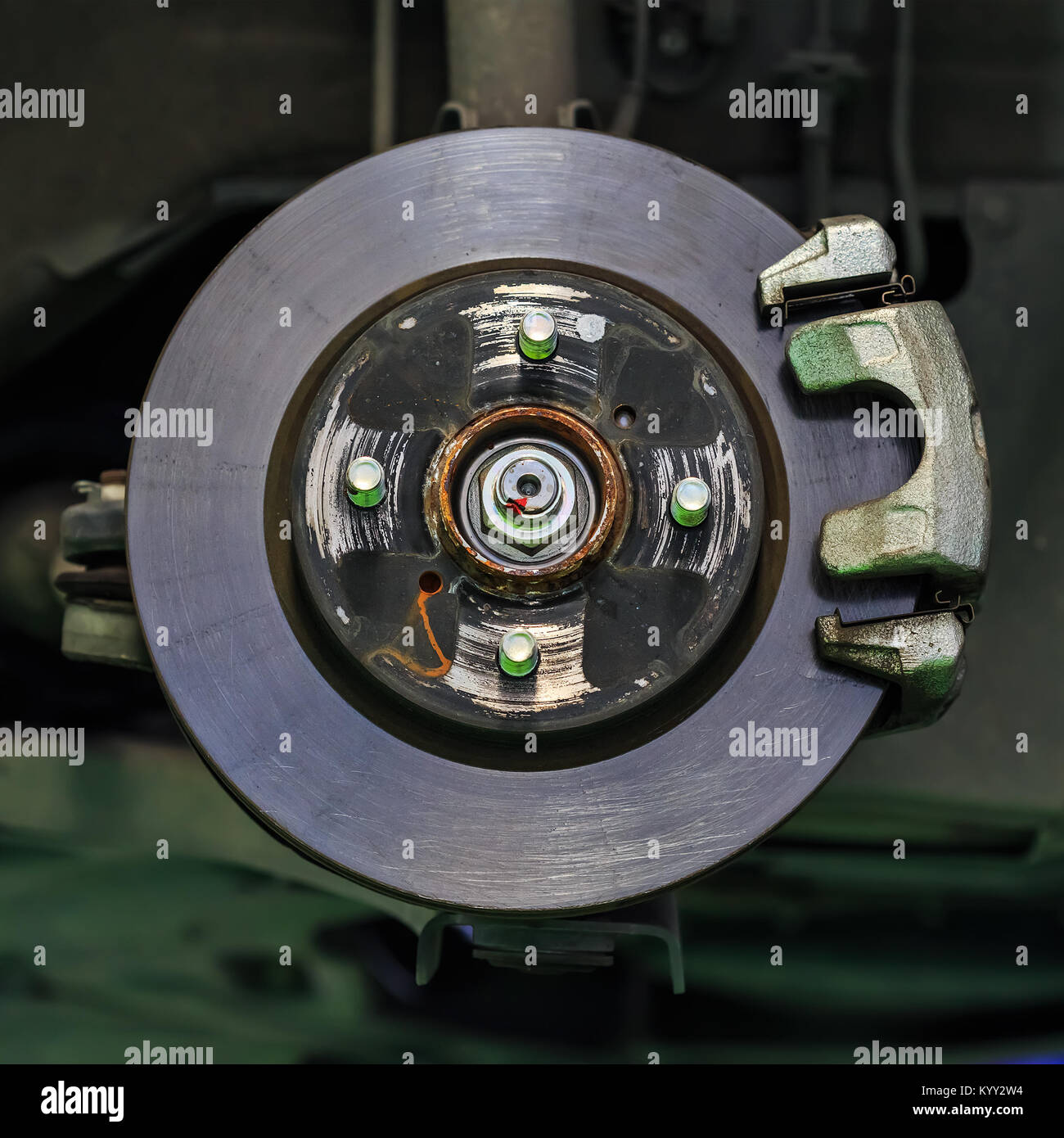 Scheibenbremse eines Autos ohne Bremsbelag Stockfoto
