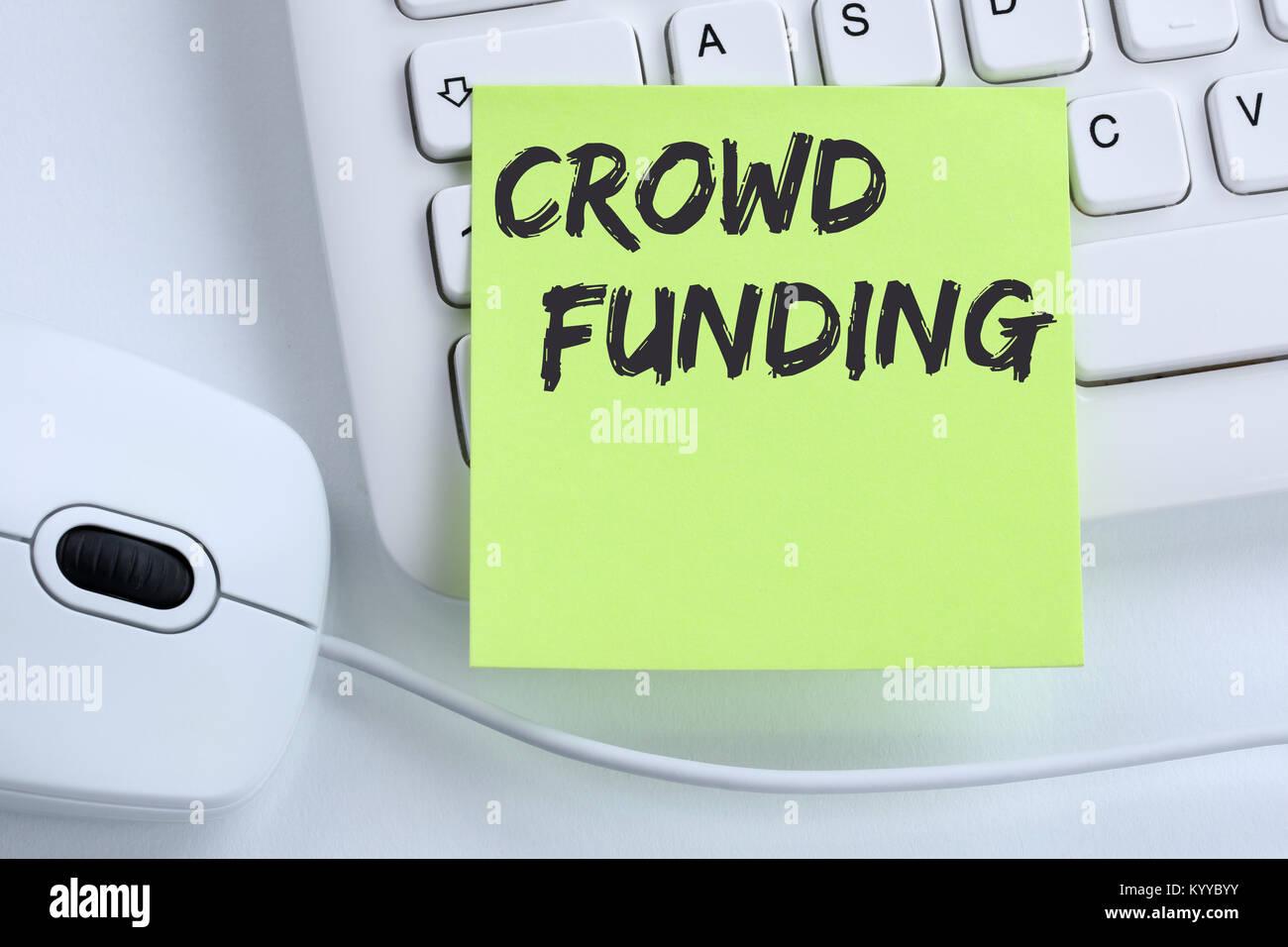 Crowdfunding Crowdfunding sammeln Geld online investment Internet Business Konzept maus Schreibtisch computer Tastatur Stockbild