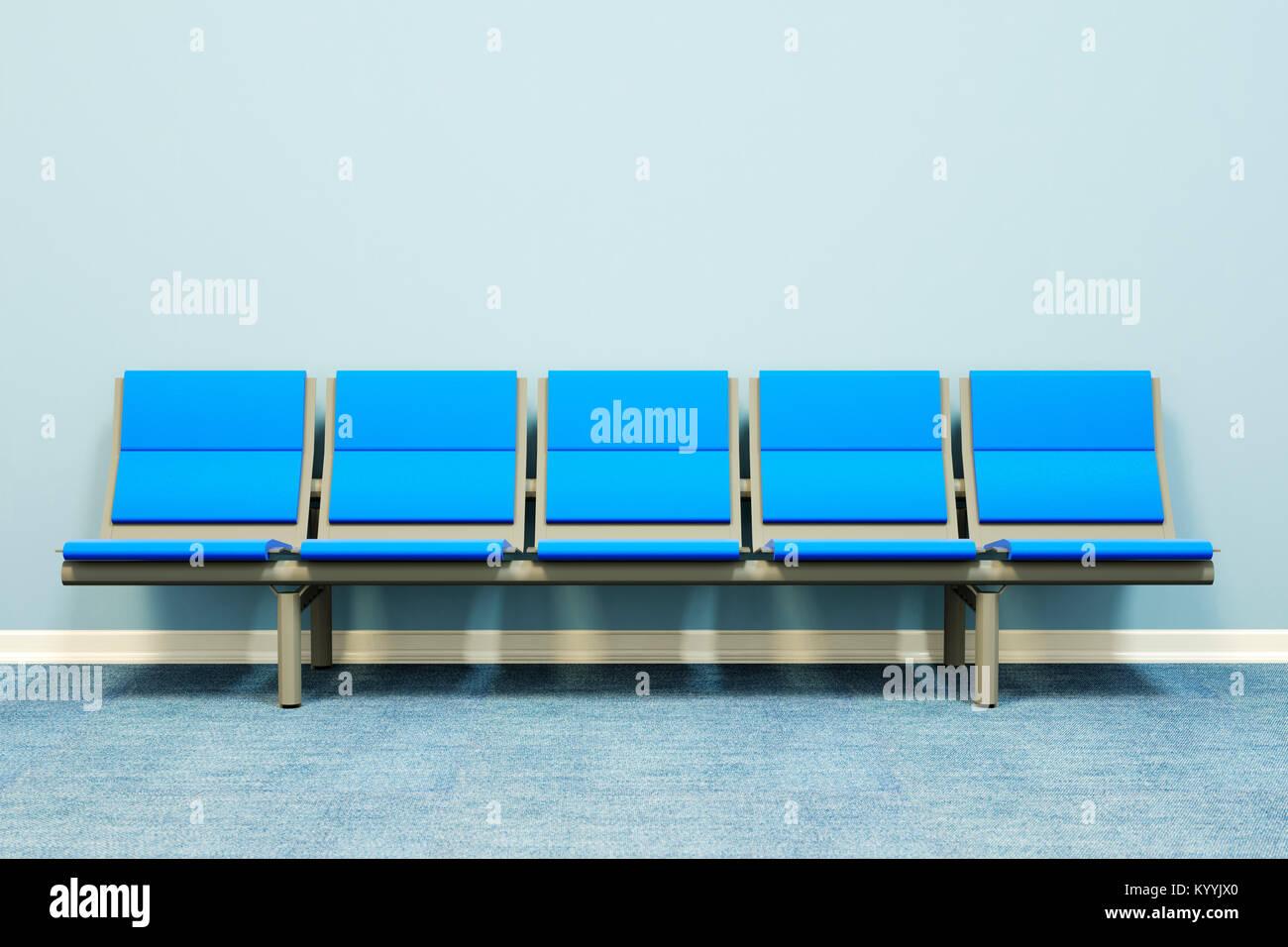 Fünf Sitze in einer Reihe gegen eine Wand in einem leeren Raum - Wartezimmer, Krankenhaus, Ärzte, Medizin, Stockbild