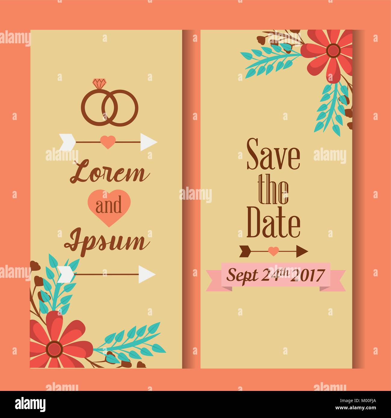 Der Termin Für Die Persönliche Einladung Hochzeit Karten Speichern Stockbild