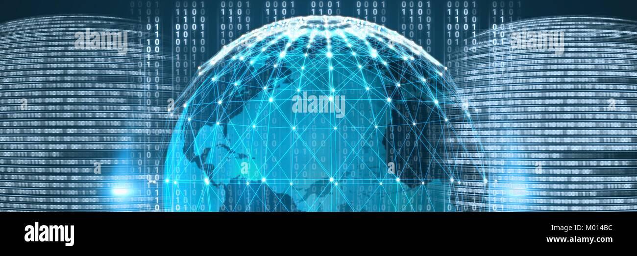 Code binäre Schnittstelle und Weltkugel Hintergrund Stockbild