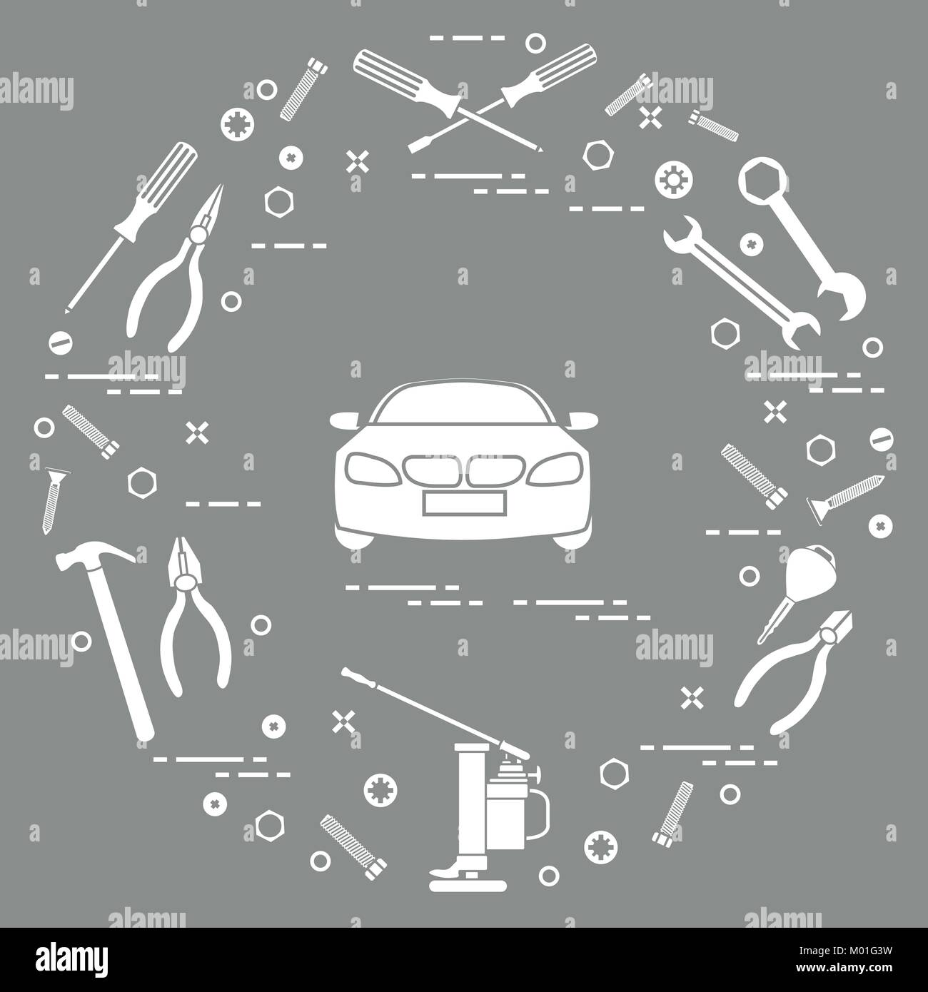 Reparieren Autos: Auto, Schlüssel, Schrauben, Schlüssel, Zangen ...