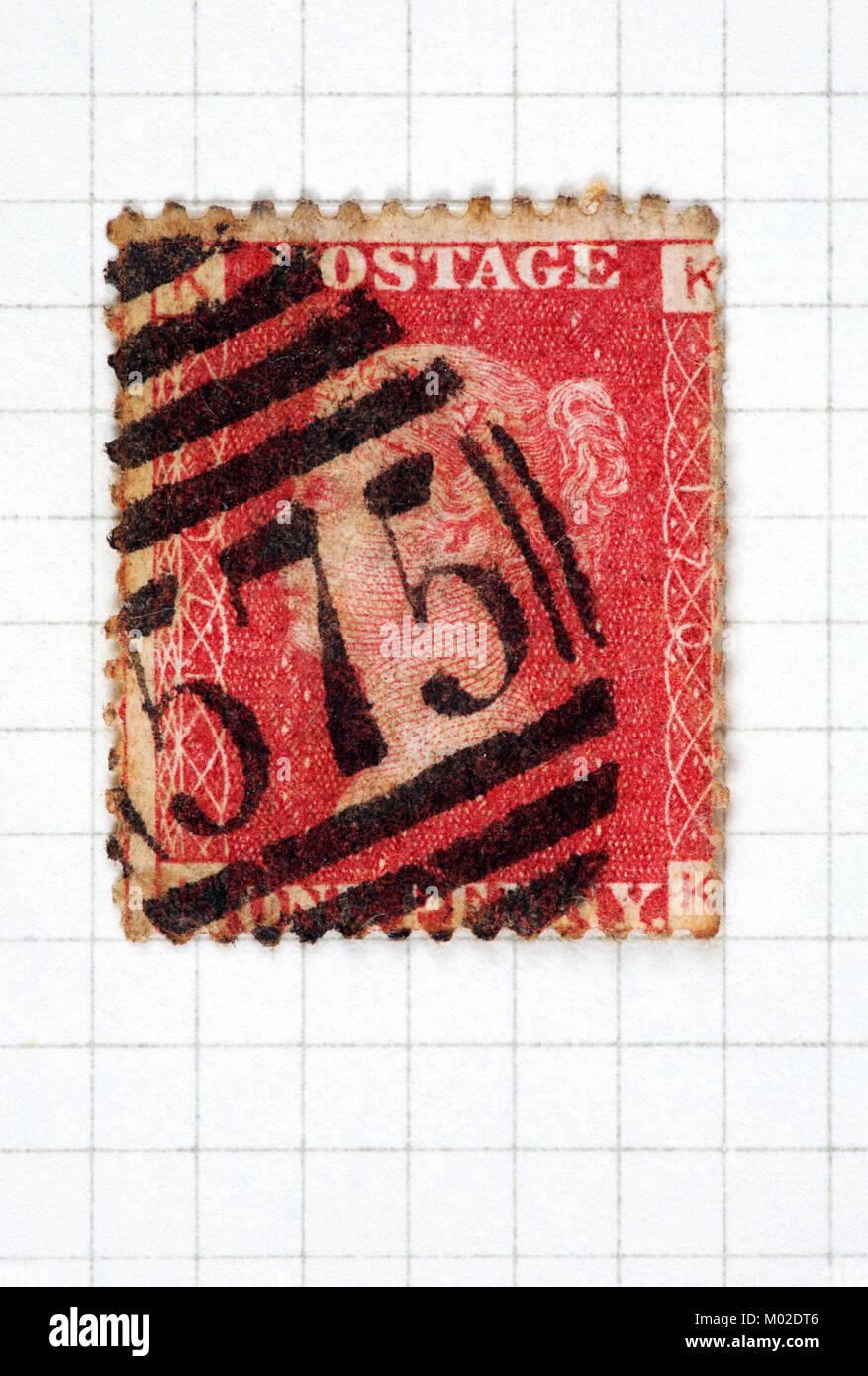 Eine Königin Victoria ein Penny rot Stempel der Platte 170 und 1858-70. Stockbild