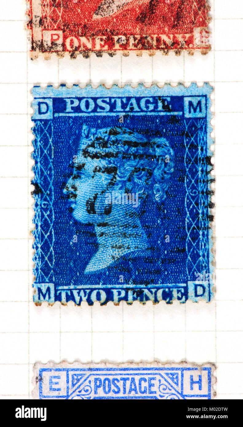 Eine Königin Victoria zwei Pence blau Stempel der Platte 9 und 1858-70. Stockbild