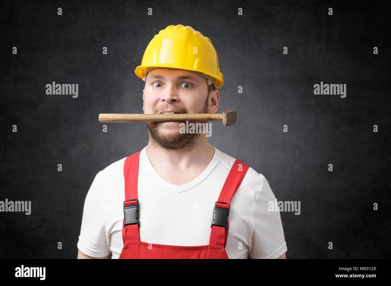 Verrückt Bauarbeiter Stockbild