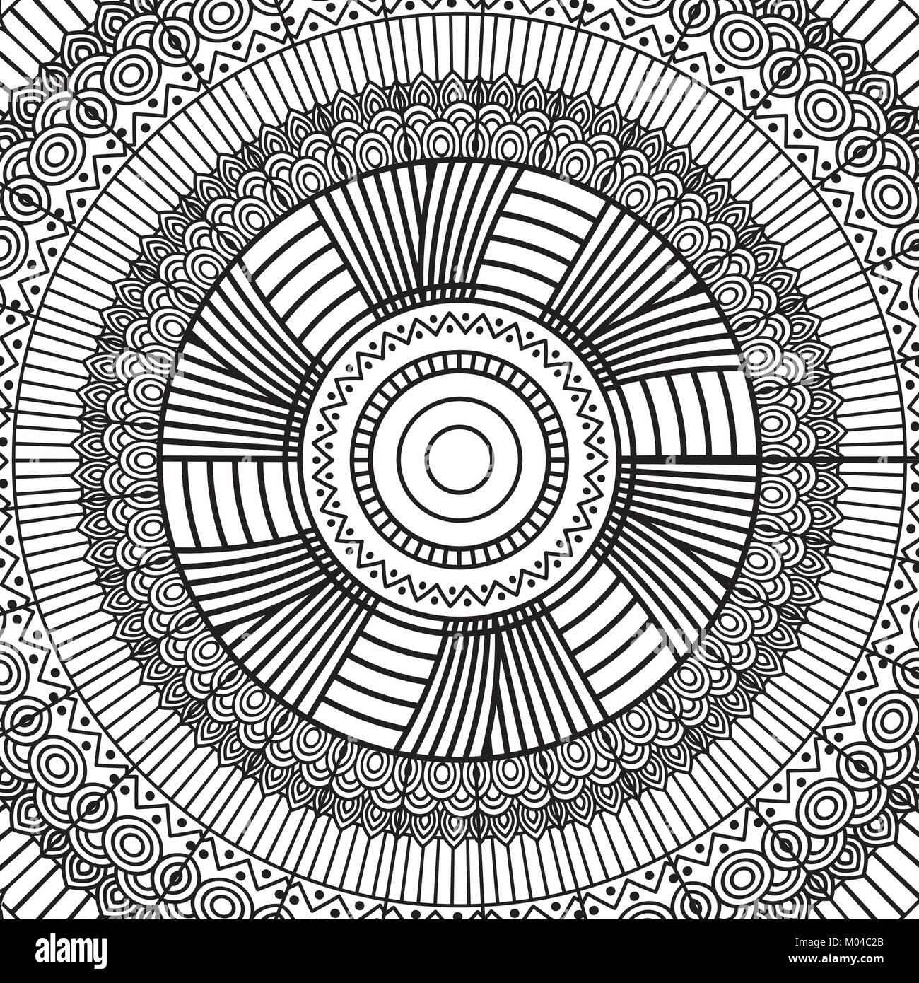 Schwarze und Weiße geometrische Mandala tribal Runde ornament ...