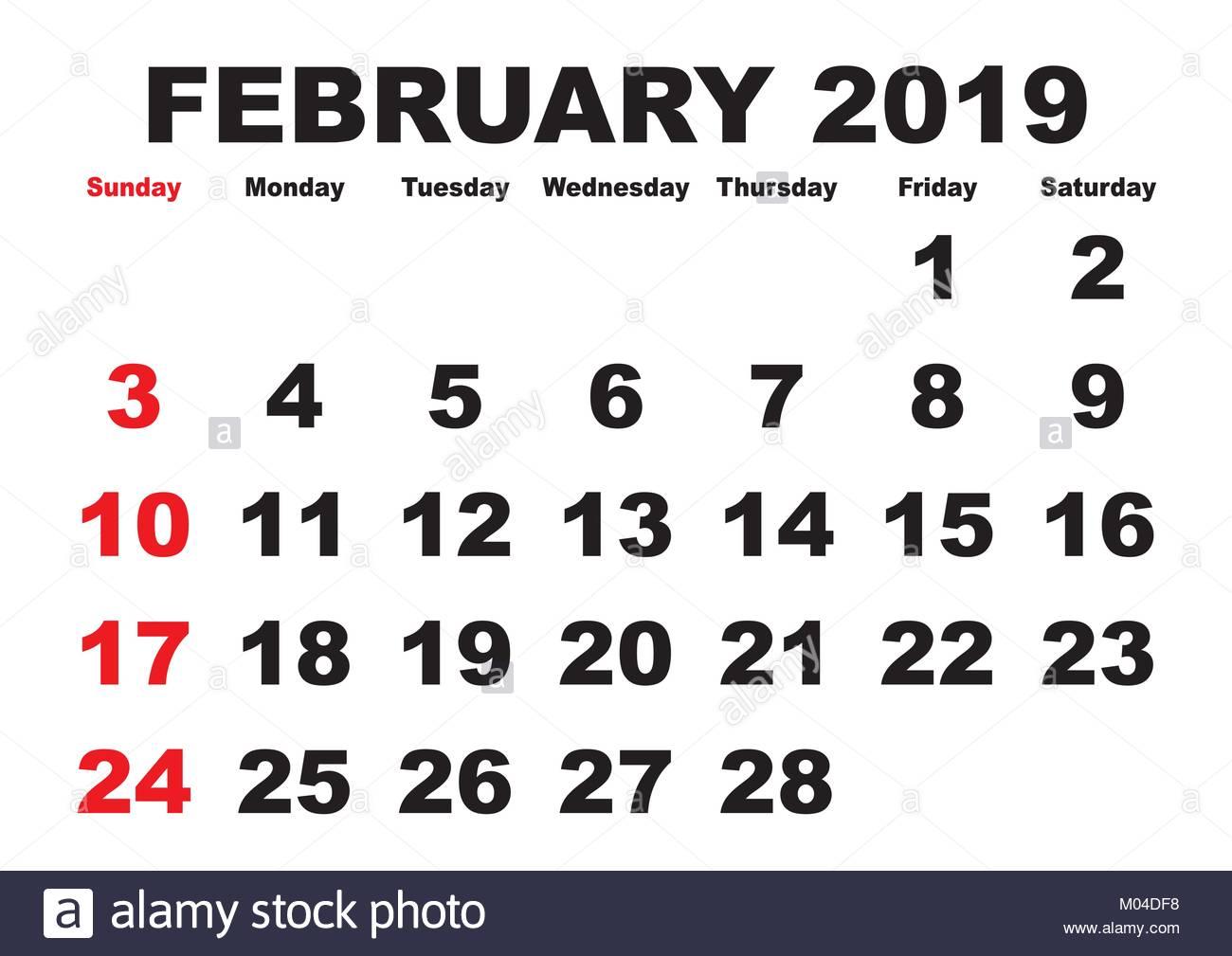 2019 Kalender Februar Monat. Vektor druckbare Kalender. Monatliche ...