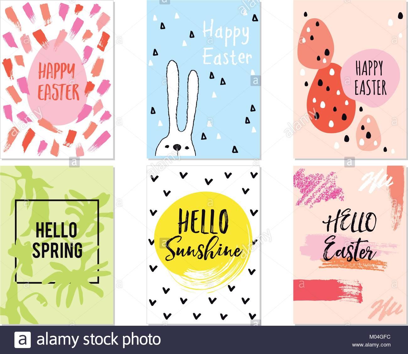 Moderne, minimalistische Ostern Karten mit Hand - Grafik Design ...