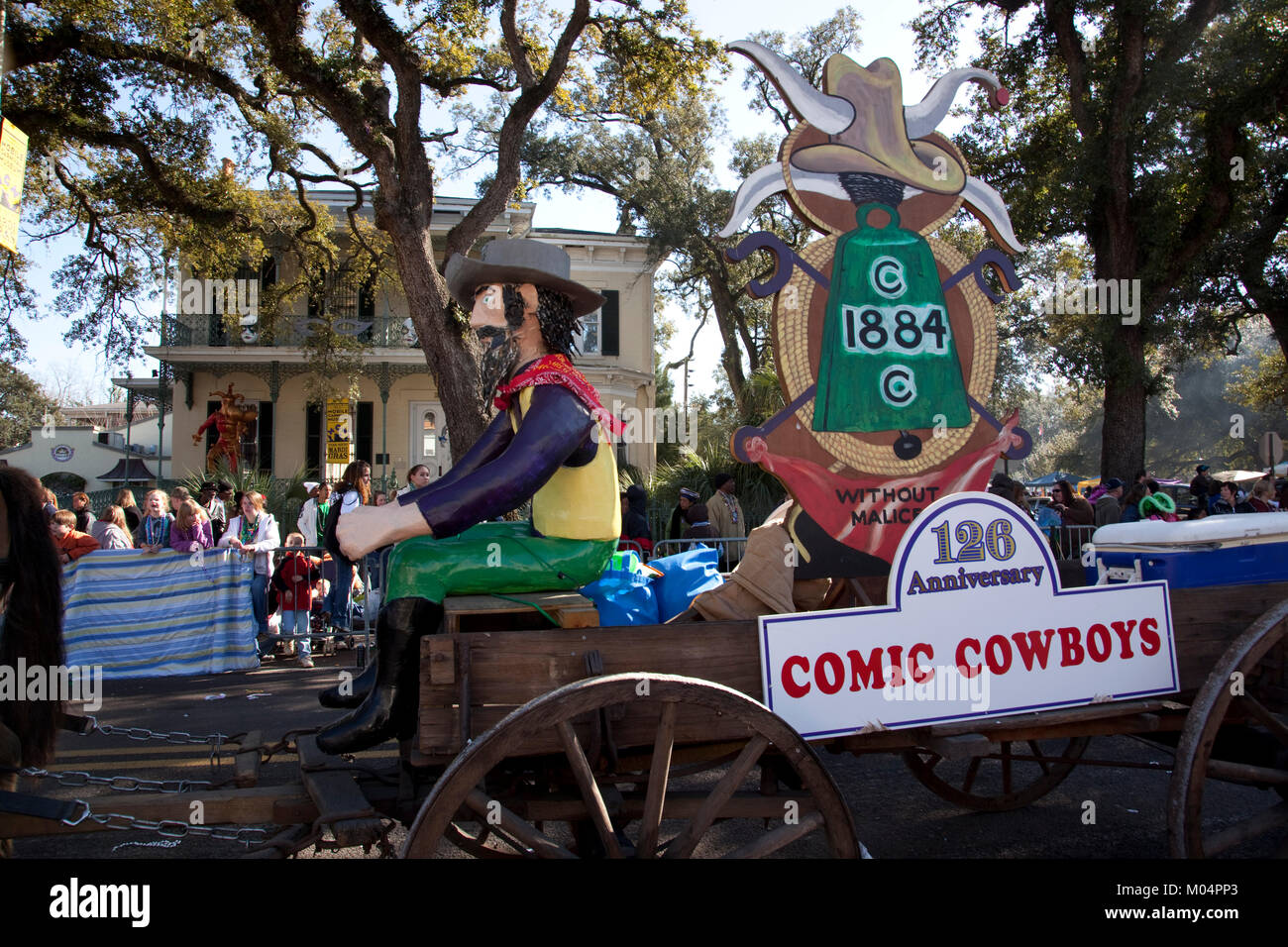 Comic Cowboys Float Stockbild