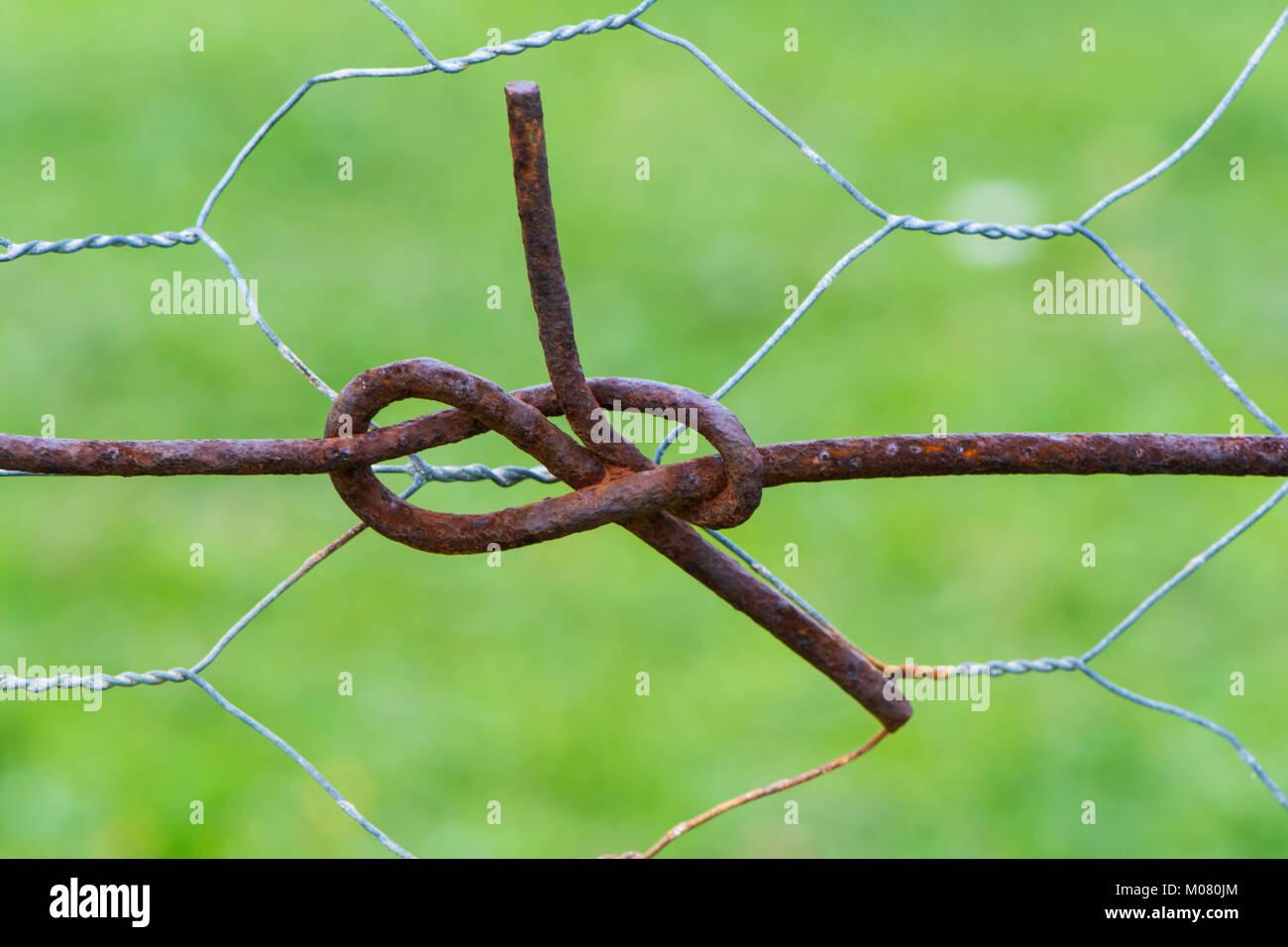 Abstract Zaun Draht Brezeln Der Von Den Verdrillten Kabel Knoten