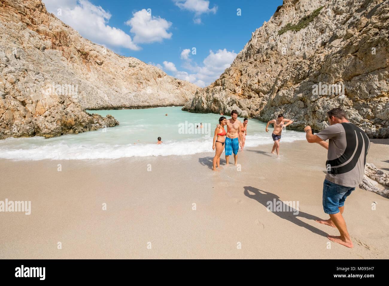 Seitan limania Strand, versteckte Badebucht, Traumstrand, Chania, Europa, Kreta, Griechenland, Chania, Europa, Kreta, Stockbild