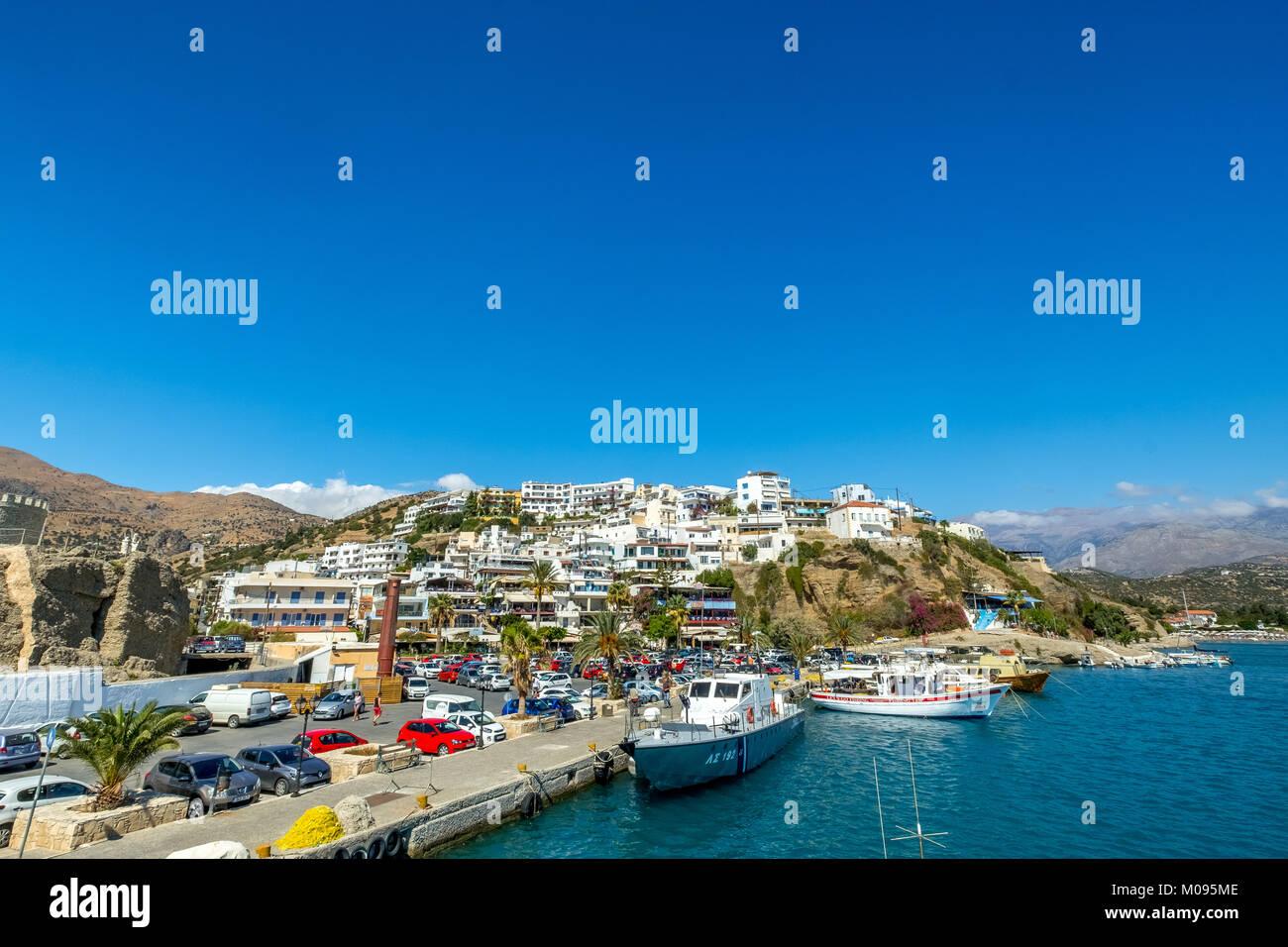 Fischerboote im Hafen von Agia Galini, Kreta, Griechenland, Europa, Agia Galini, Europa, Kreta, Griechenland, GR, Stockbild
