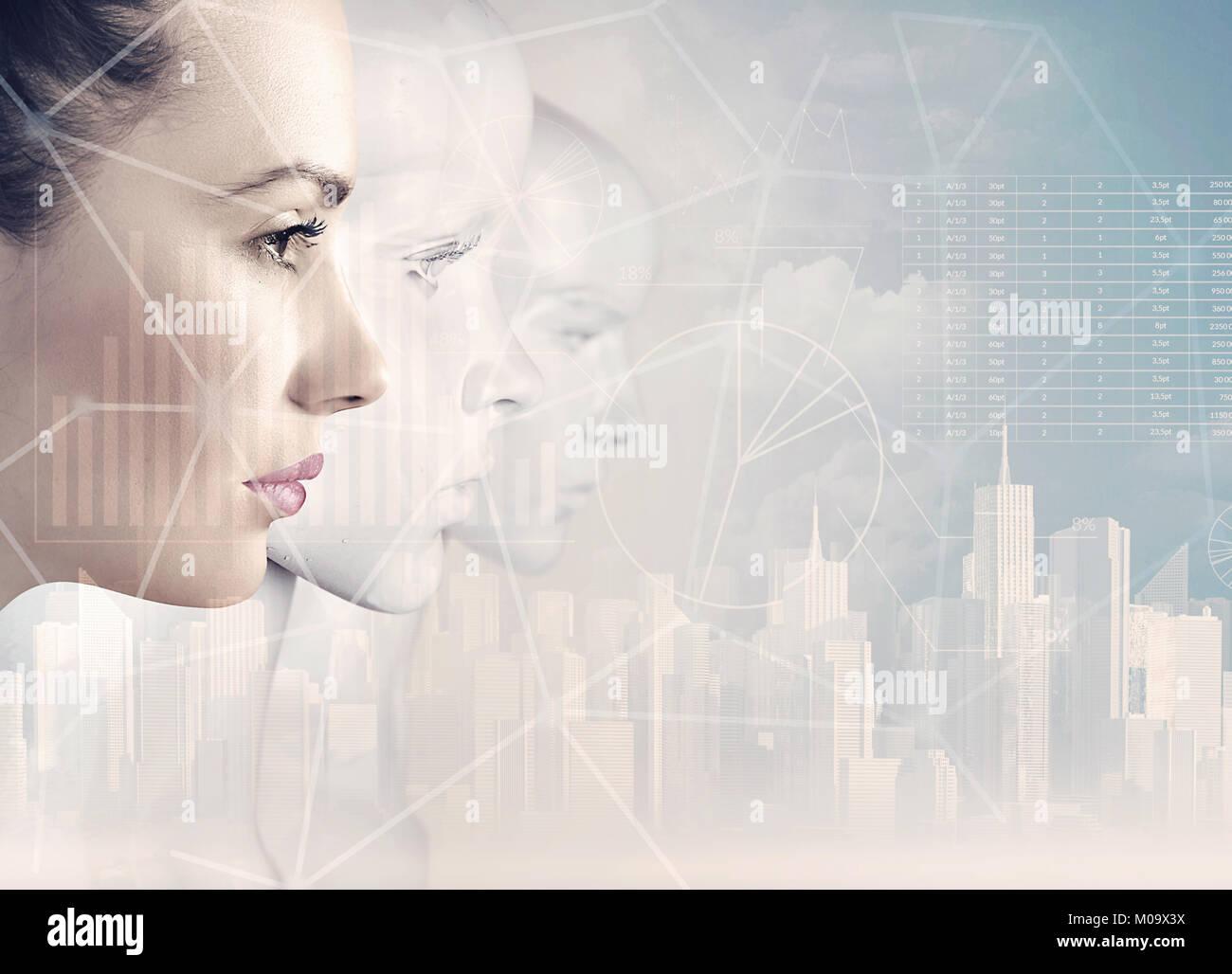 Frau und Roboter - künstliche Intelligenz Konzept Stockbild