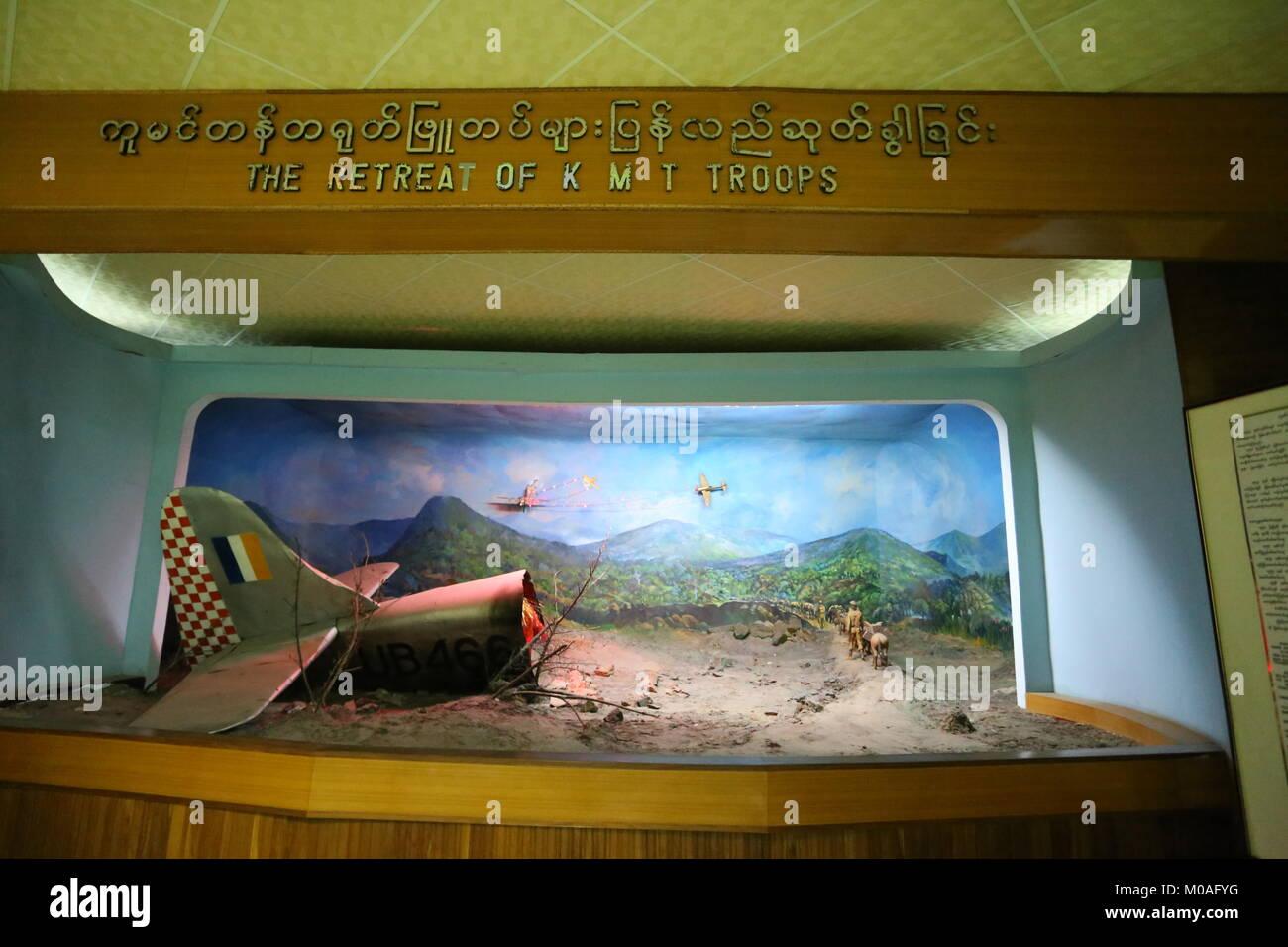 Das Museum in Yangon ist mit Anzeige von Warnungen über die Gefahren und Risiken der Drogenabhängigkeit gefüllt. Stockfoto