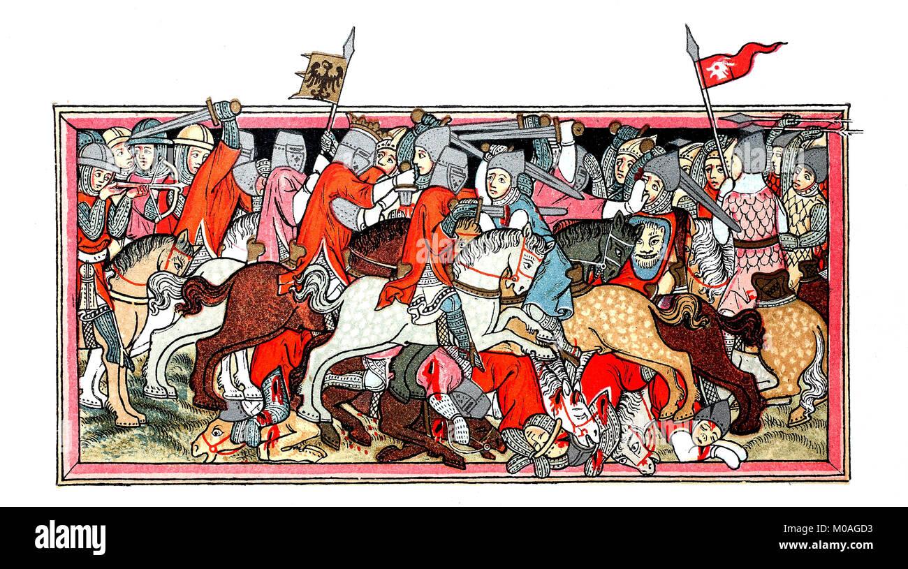Kampf Szene aus der Zeit der Schlacht von Mühldorf, mittelalterliche Miniaturmalerei von 1334, in der Landesbibliothek Stockbild