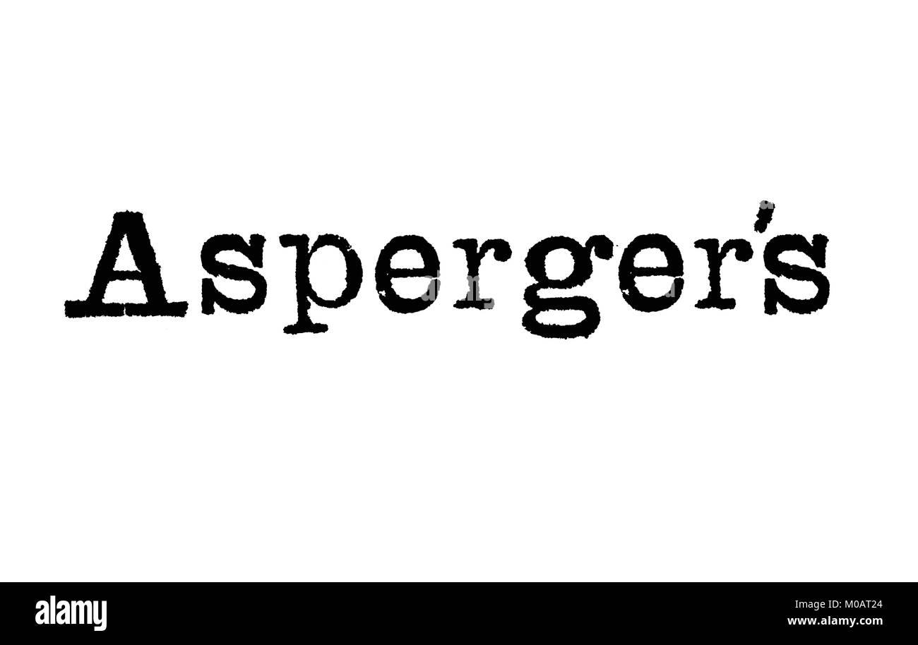 Das Wort Asperger aus einer Schreibmaschine auf weißem Hintergrund Stockbild