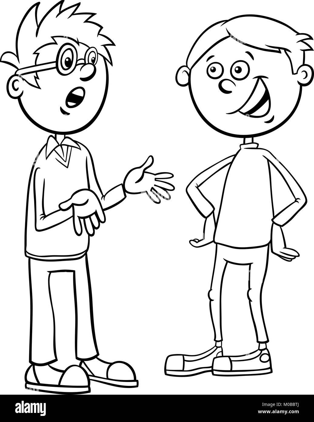 Schwarze und Weiße Cartoon Illustration im Grundschulalter oder ...