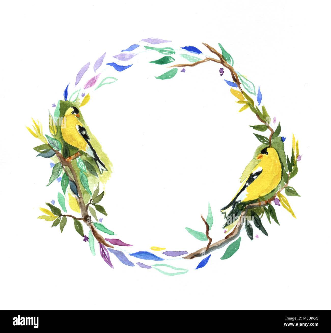 Aquarell Vögel Rahmen handmade auf Papier. Aquarelle perfekt für ...