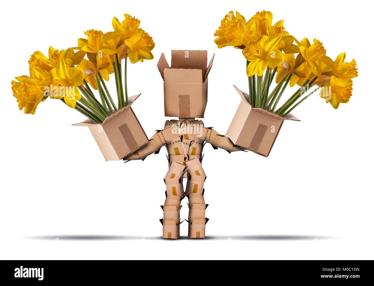 Box Charakter mit großen Boxen mit gelben Blumen. Auf einem weißen Hintergrund. Blume Lieferung oder Geschenk Stockbild