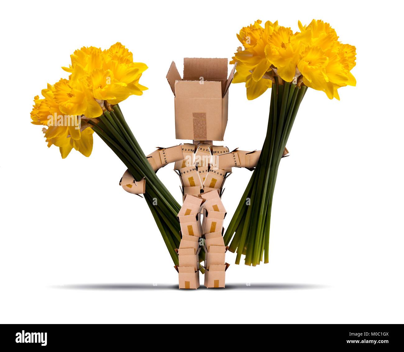 Box Charakter mit großen Trauben von Narzissen. Schneiden gelbe Blumen und einen netten Charakter von Boxen Stockbild