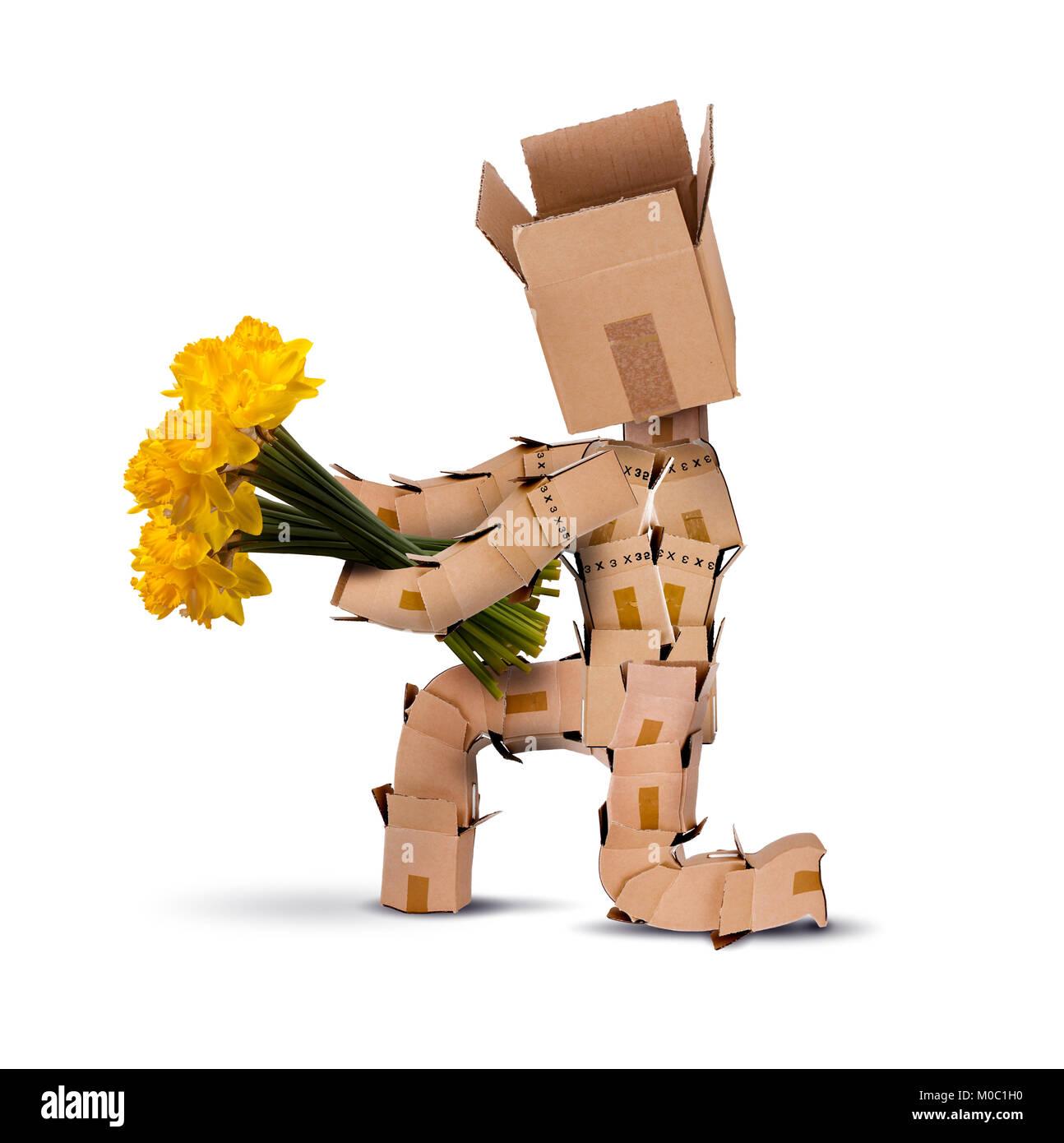 Box Charakter auf den Knien halten Bündel gelbe Narzisse Blumen isoliert auf einem weißen Hintergrund. Stockbild