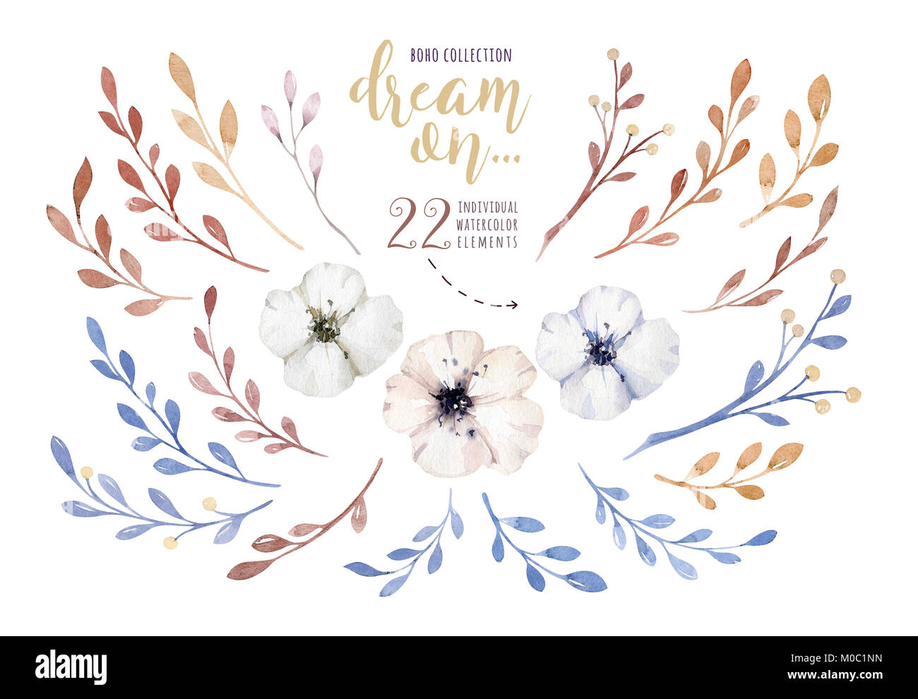 Handgemaltes Aquarell Blumen Im Vintage Style Es Ist Perfekt Fur