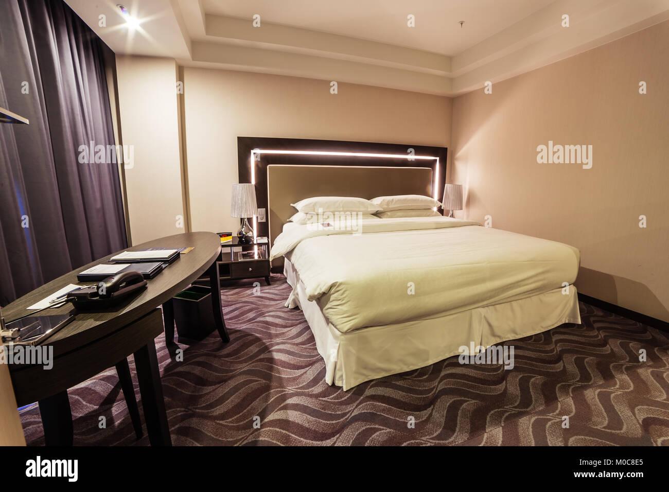 Die Gestaltung Des Innenraums Luxus Hotel Schlafzimmer Stockfoto
