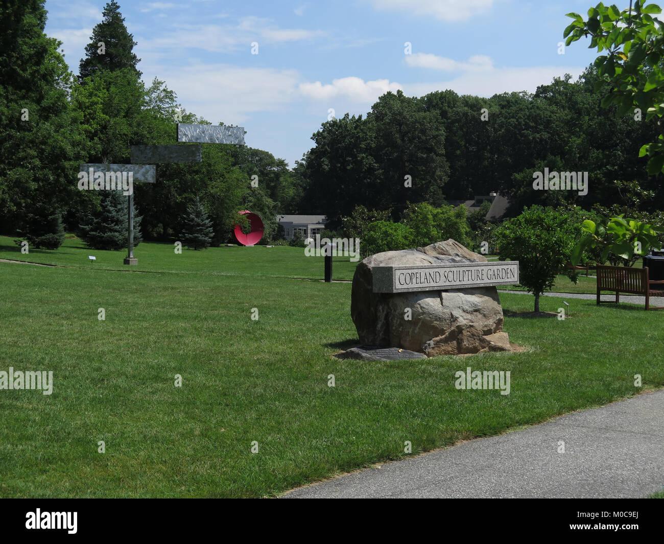 Delaware Art Museum, Wilmington, Delaware, Kunst, Skulptur, Park. Sculpture Garden, illustrative Kunst, Stockbild