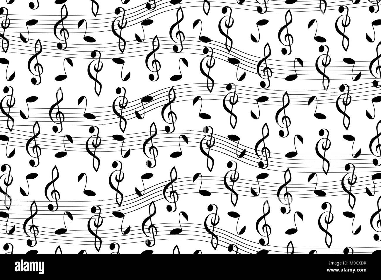 Geliebte Musikalische Muster mit Noten, Musik vector Pattern - Schwarz und  MU62