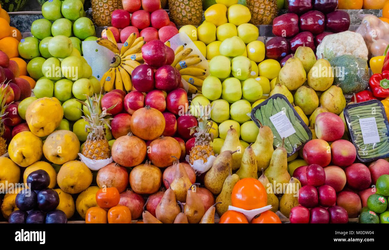 Frucht Mix, Kombination verschiedener Früchte, Dekoration auf ...