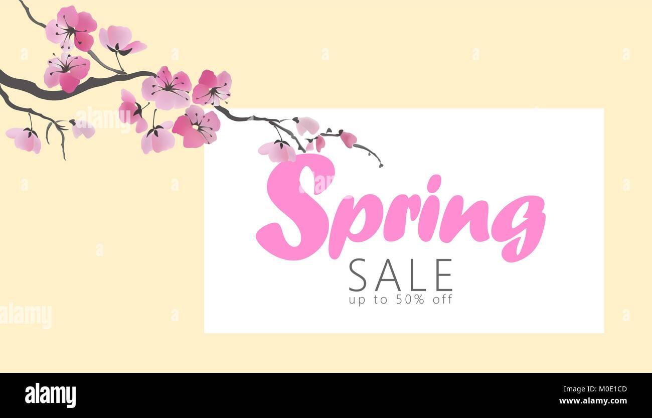 Vektor aquarell Sakura Blossom Frühling Verkauf banner Vorlage. Rosa ...