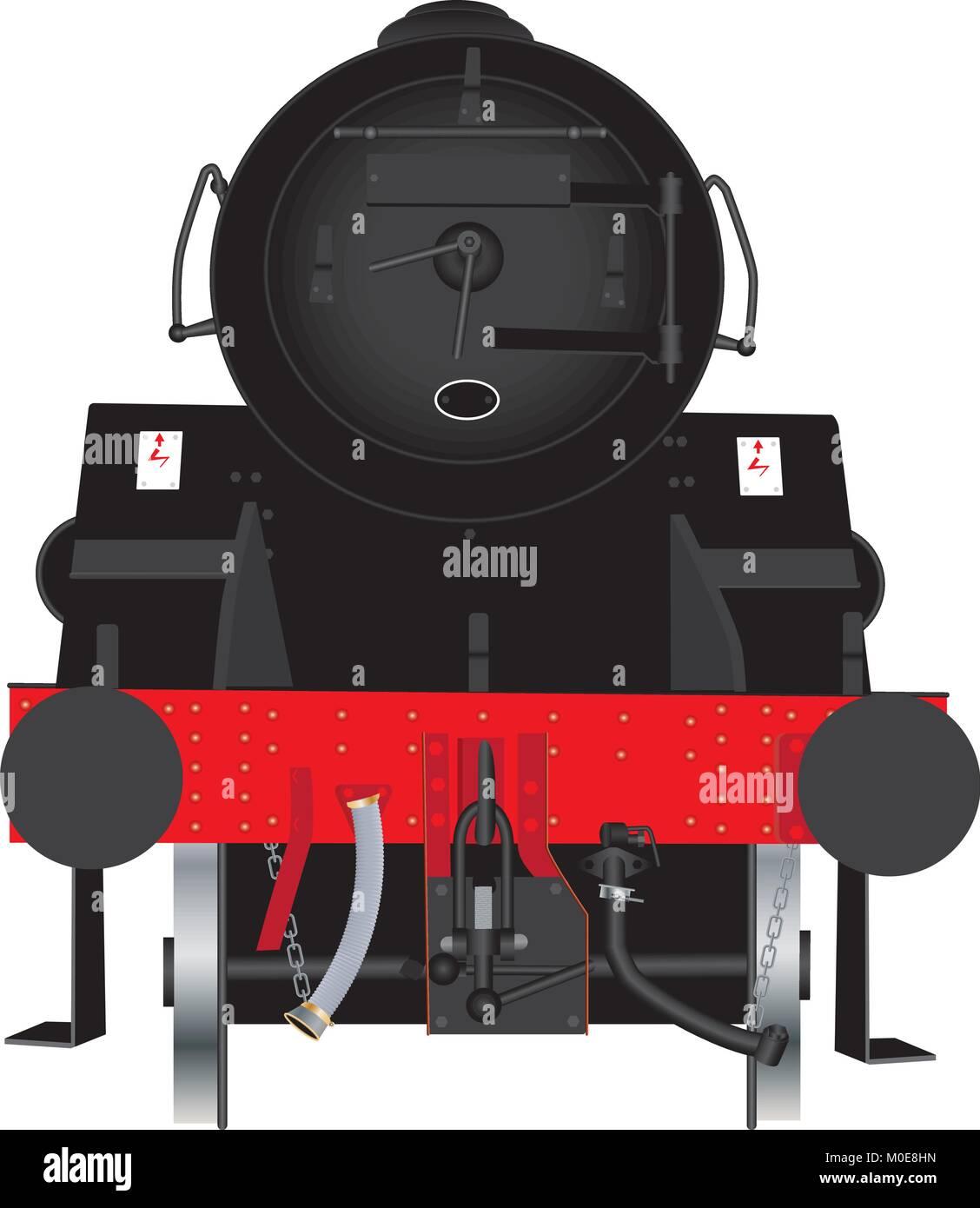 Eine detaillierte Vorderansicht eines mächtigen Schwarzen und Roten britischen Dampflokomotive isoliert auf Stockbild