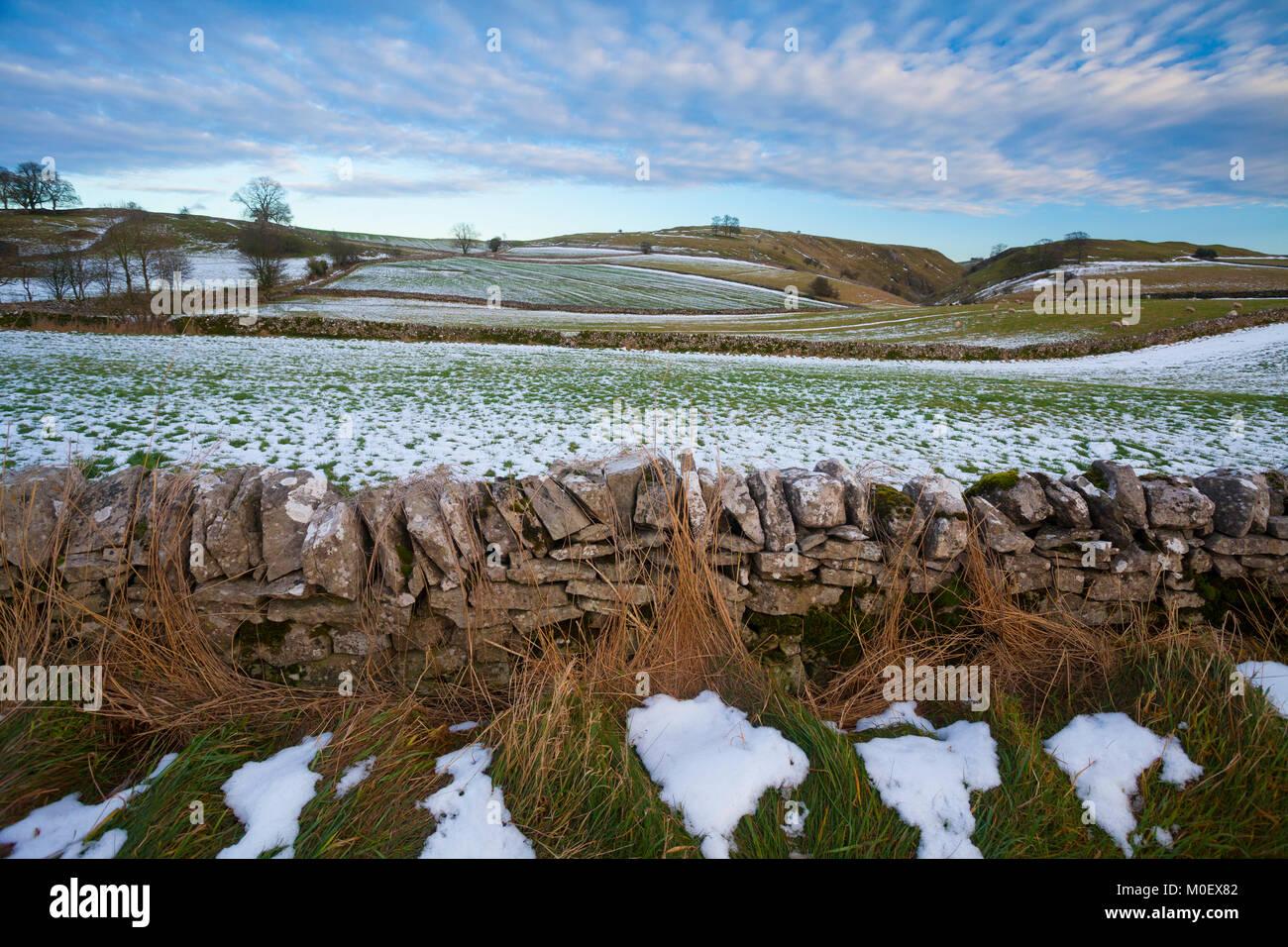 PEAK DISTRICT NATIONAL PARK, Stanshope, Ashbourne, Derbyshire, UK. Januar Stockbild