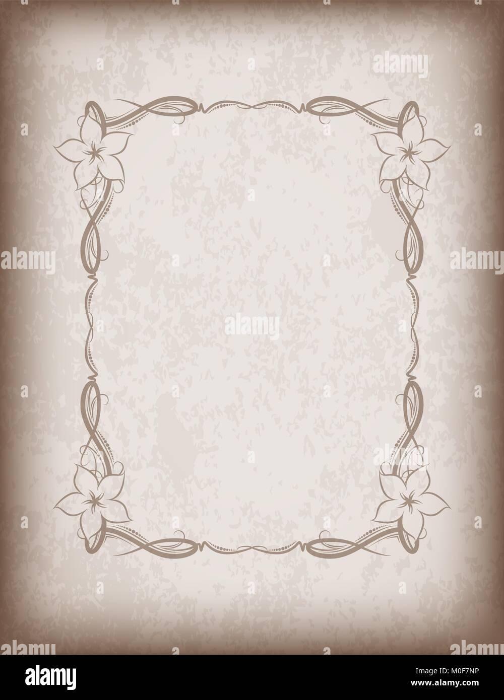 Alte Rahmen mit Blumen im Alter von Papier mit dunklen Rändern und ...