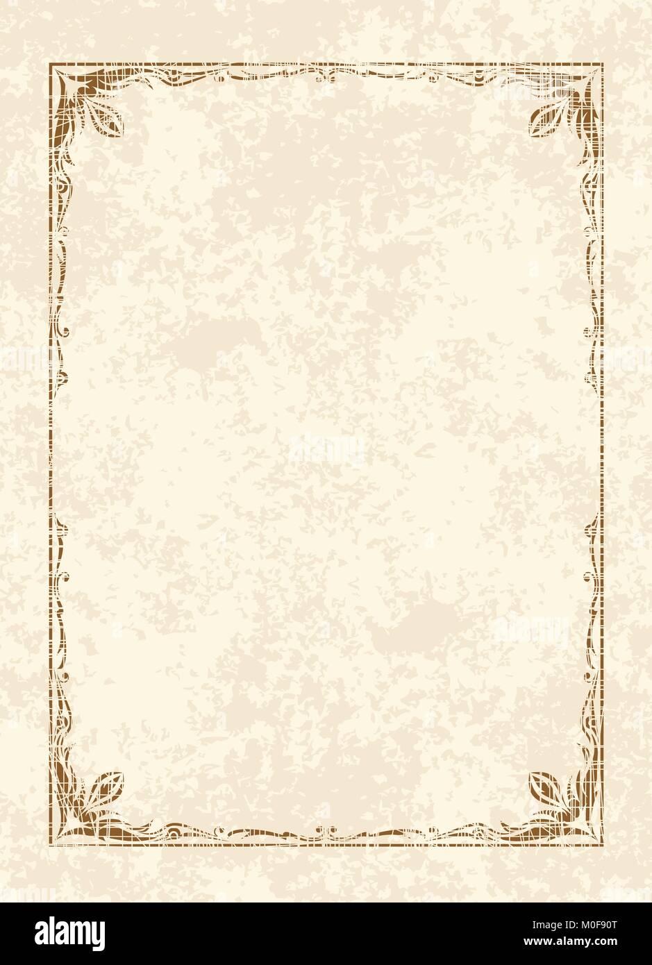 Alte Rahmen im Alter von Papier. Retro Vintage Grußkarte, Einladung ...