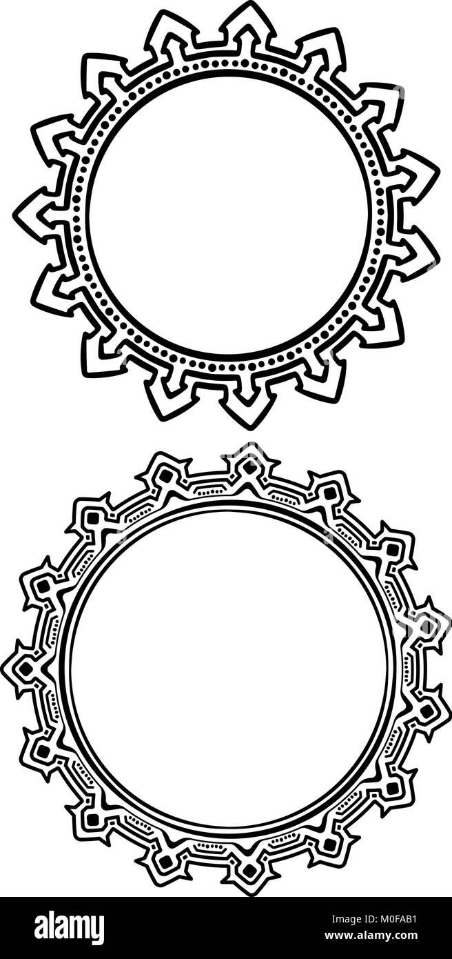 Paar runden Rahmen in der Hand gezeichneten Stil Vektor Abbildung ...