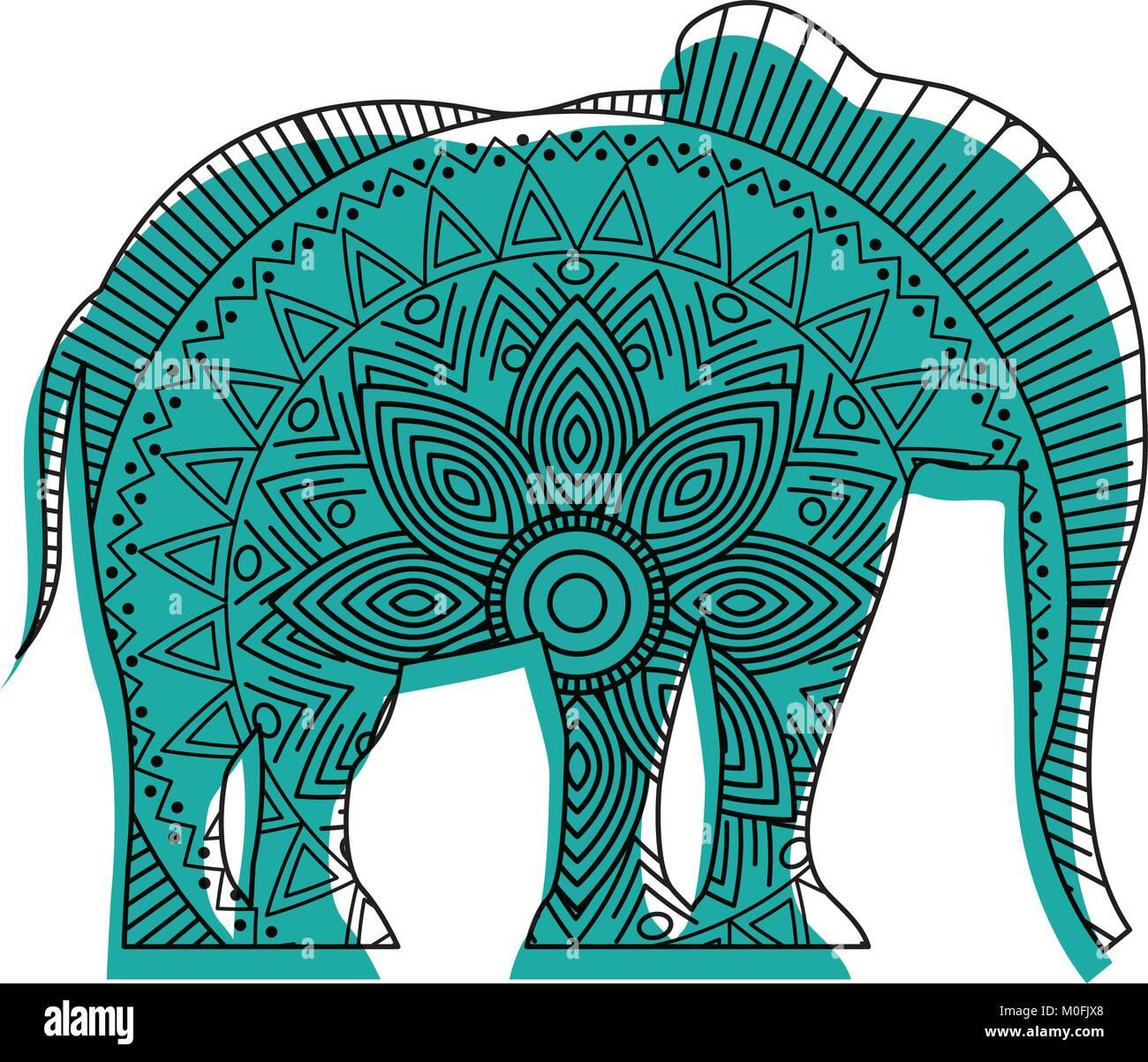 Hand Gezeichnet Für Erwachsene Malvorlagen Mit Elefant Zentangle