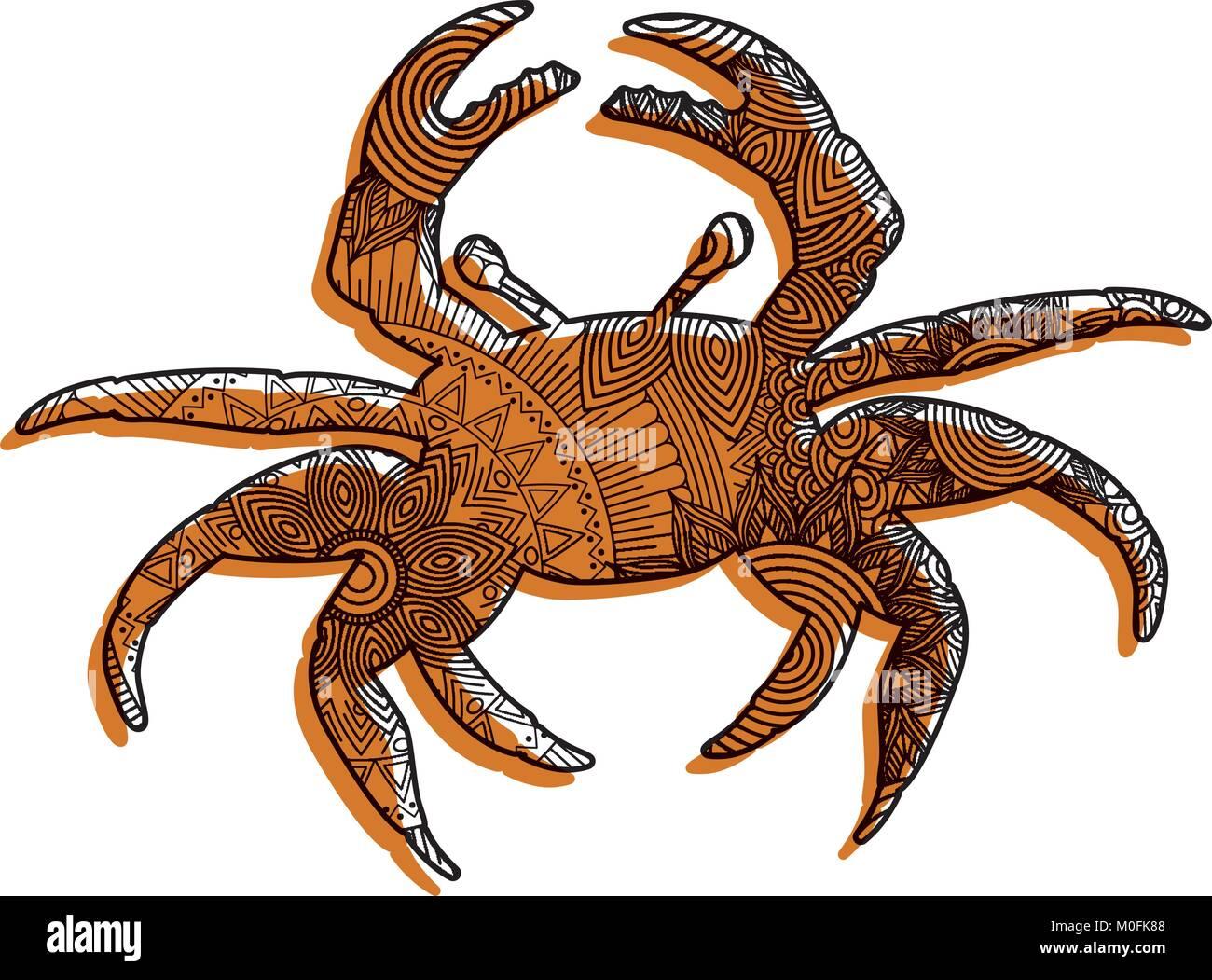 Hand gezeichnet für Erwachsene Malvorlagen mit Krabben zentangle ...