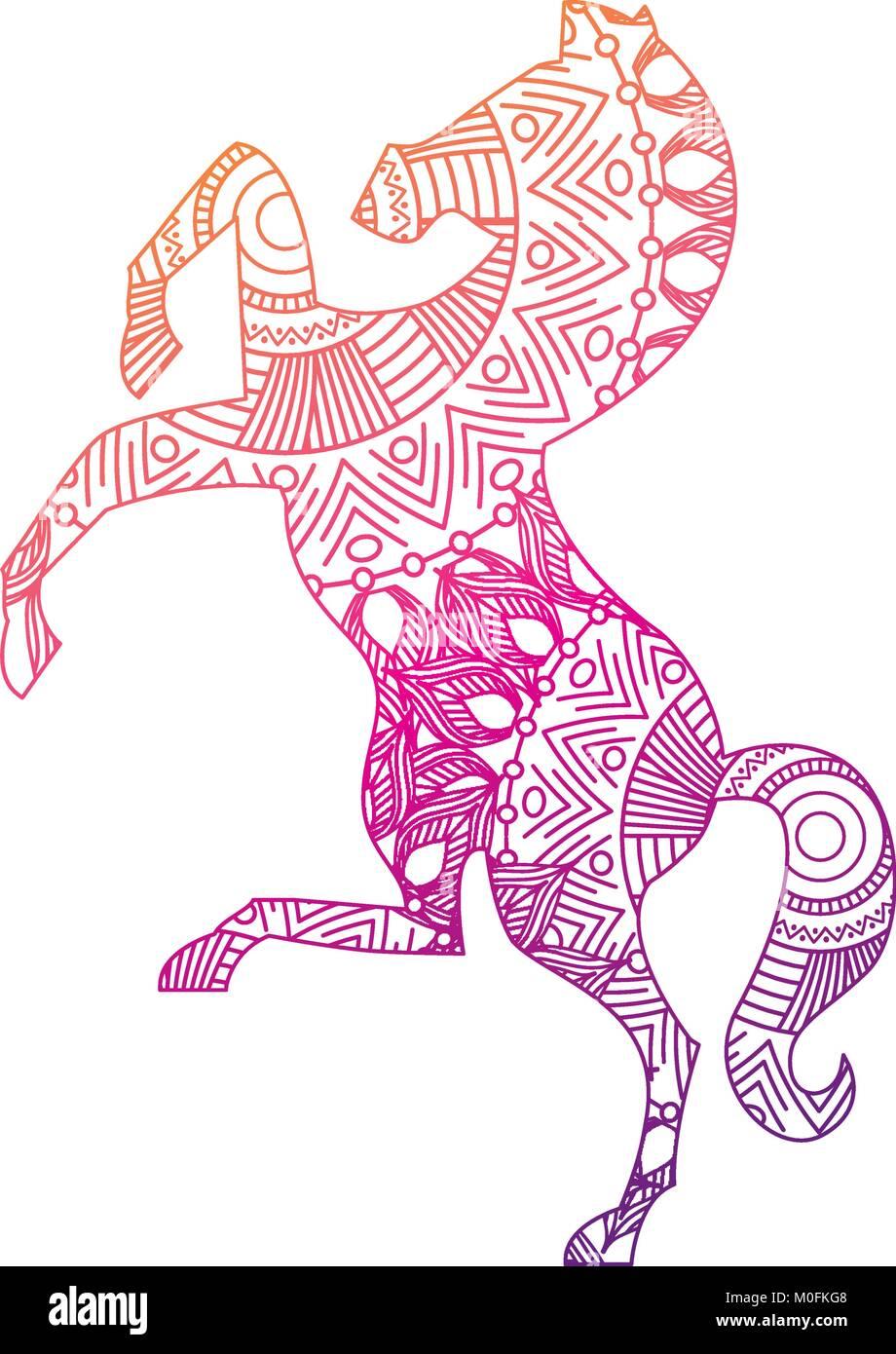 Hand gezeichnet für Erwachsene Malvorlagen mit Pferd zentangle ...