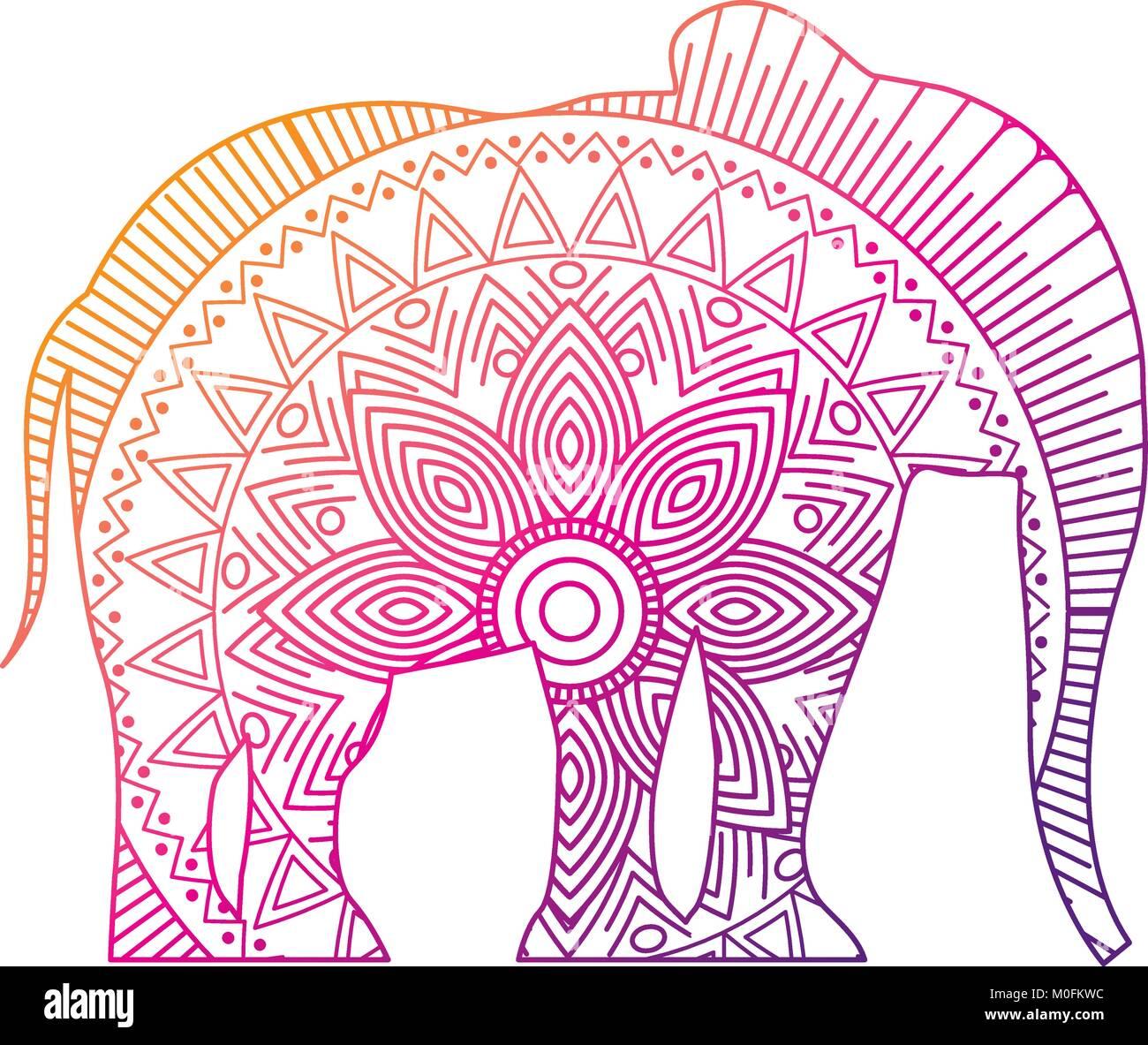 Hand gezeichnet für Erwachsene Malvorlagen mit Elefant zentangle ...