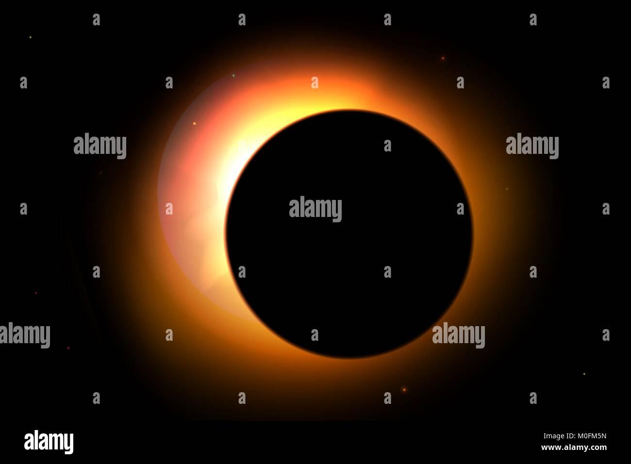Sonnenfinsternis mit Sternen auf Hintergrund. Vektor Sonne Illustration für Design Stockbild