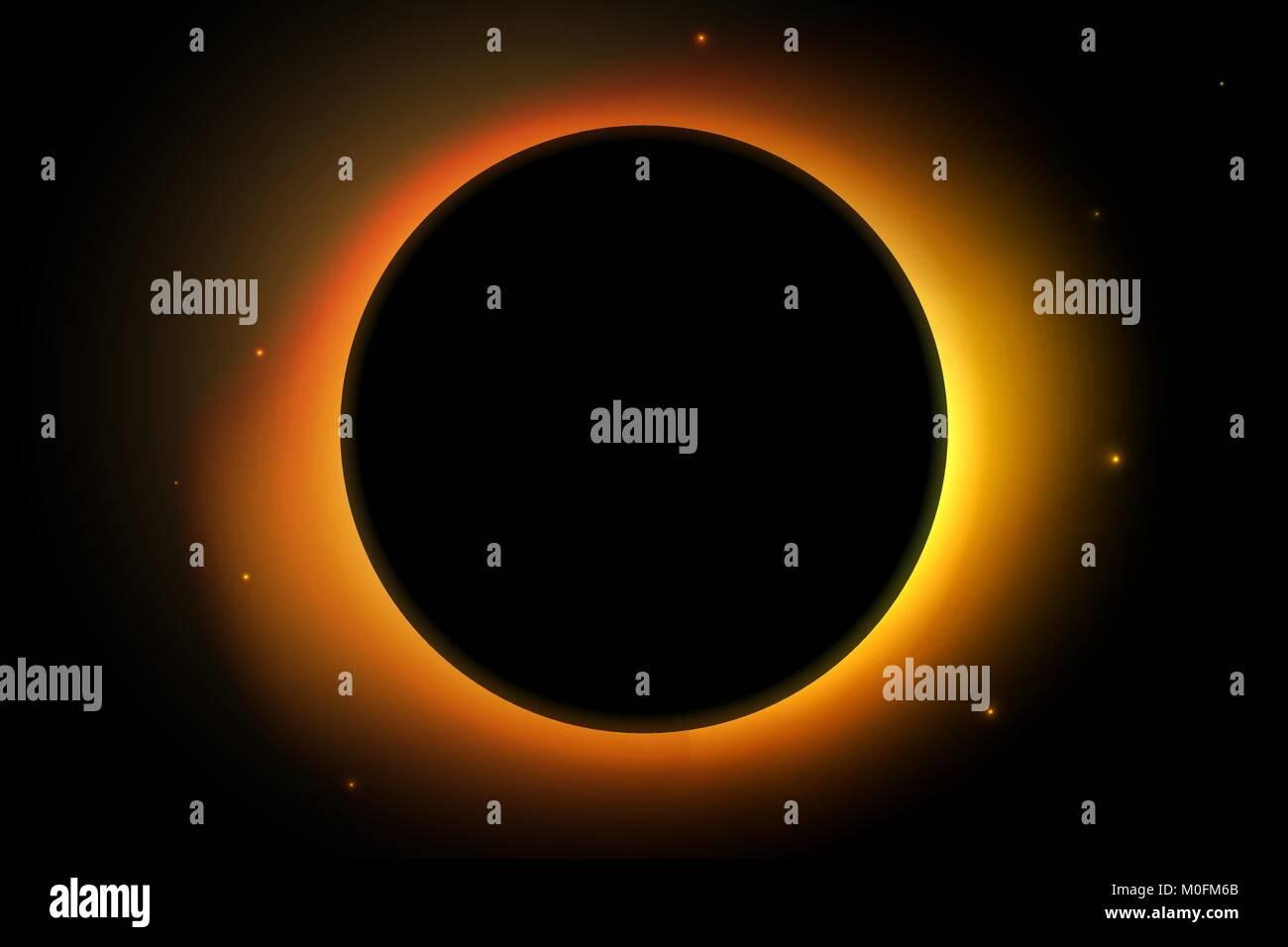 Volle Sonne Eclipse. Solar Vector Illustration mit Sterne auf der Rückseite Hintergrund. Stockbild