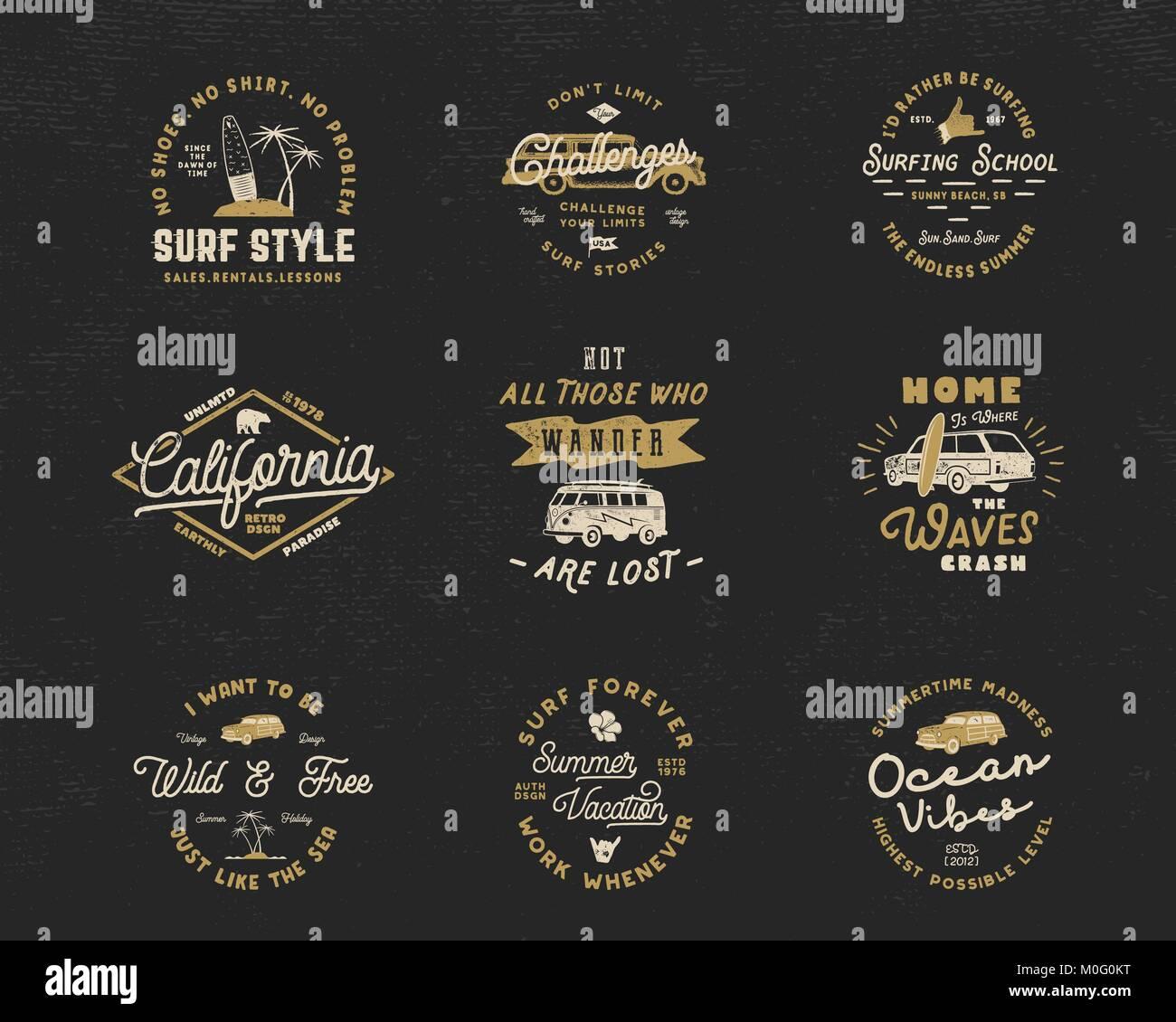Vintage Surfen Grafiken und Embleme für Web Design oder Drucken ...