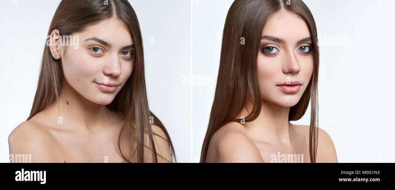 Vergleich Portrait von einem schönen Mädchen ohne Make-up und Make-up im Gesicht. Stockbild