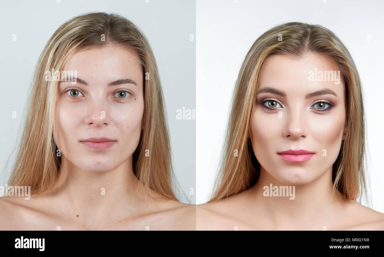 Vergleich Foto von einer schönen blonden Mädchen ohne und mit Make-up. Stockbild