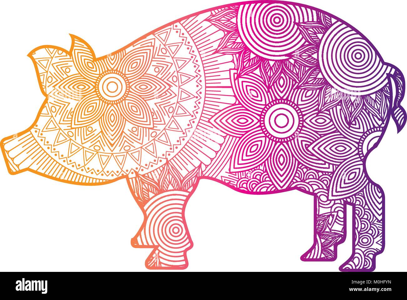 Pig Hand Drawn Vector Illustration Stockfotos & Pig Hand Drawn ...