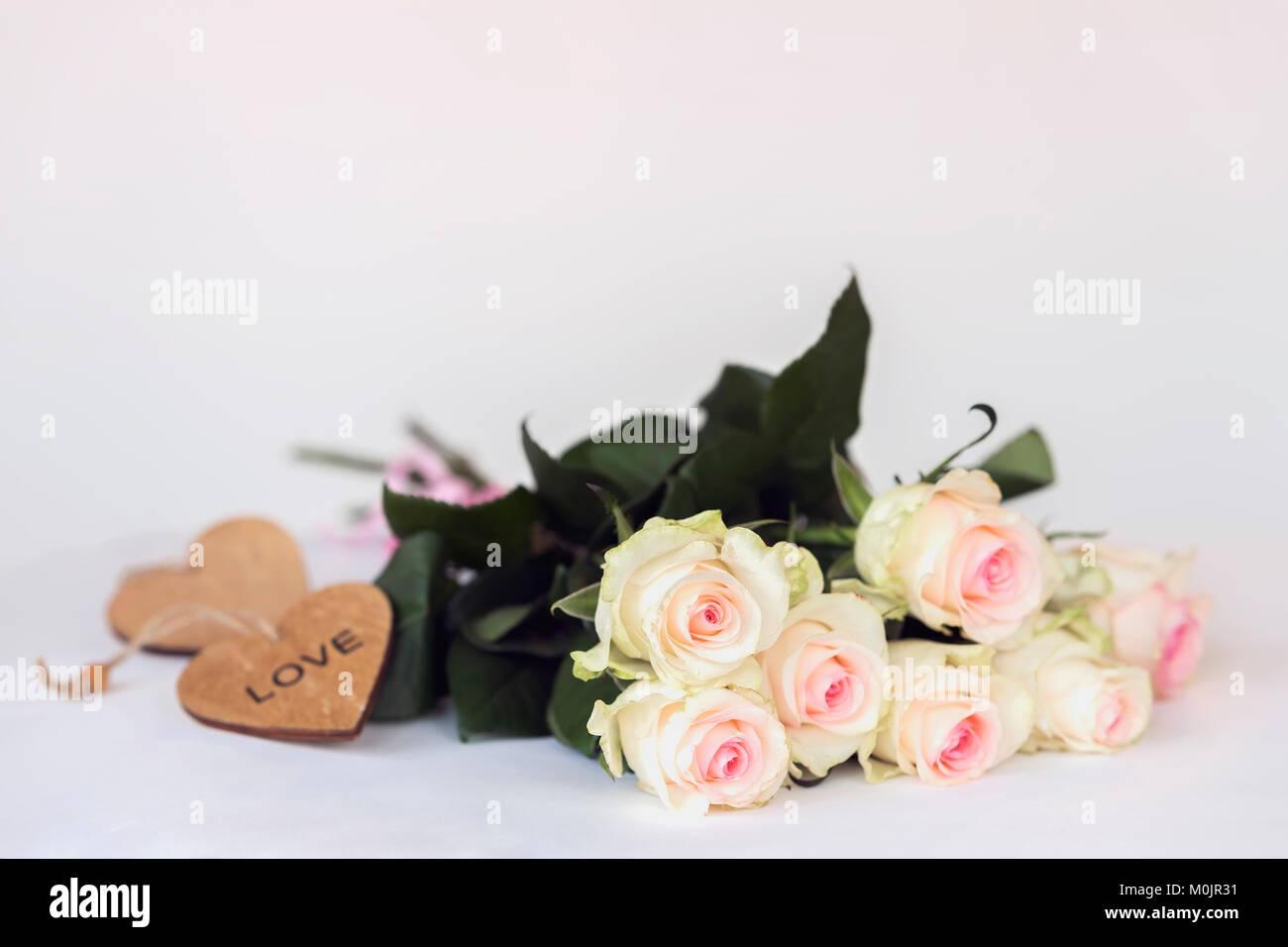 Romantische Valentines Bluhenden Rosen Zarte Blumen Pastell