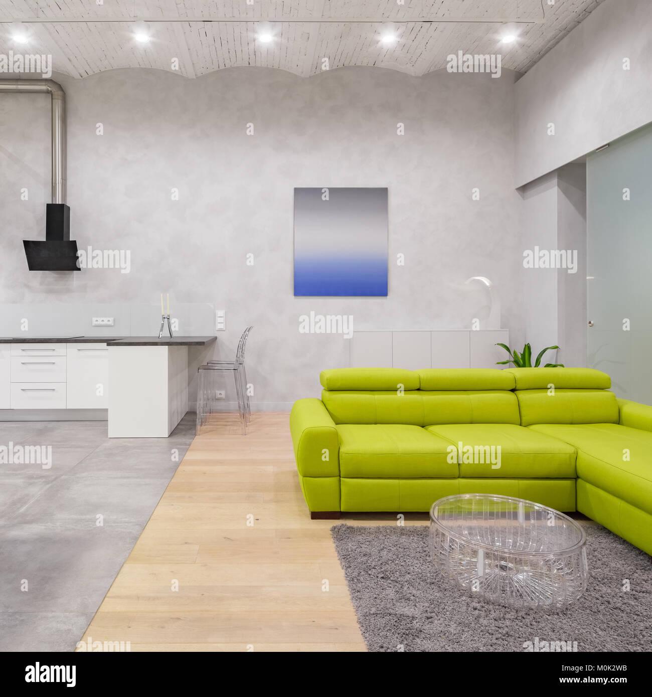Loft Interieur in Grau und Weiß mit grünem Sofa, transparente und ...