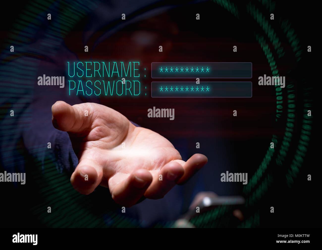 Hooded Cyberkriminalität Hacker über Handy und Internet hacking in für den Benutzernamen und das Stockbild